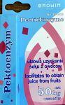 Enzym pektolityczny ułatwiający uzyskanie soku z owoców. Porcja 10 ml na 50 kg owoców.  Zawartość opakowania należy rozpuścić w niewielkiej ilości letniej wody (nie więcej niż 38 st.C)i dodać do rozdrobnionych owoców. Pozostawić w nienasłonecznionym miejscu na 10-12 godzin.