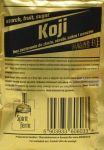 Drożdże KOJI do fermentacji nastawów ze skrobi, mąki, owoców.  Dzięki zastosowanej mieszance drożdże KOJI fermentują cukier zawarty w mąkach lub drobno ześrutowanych zbożach - bez konieczności zacierania. Zawierają szczep drożdży Aspergillus oryzae  Czas pracy od 7 – 30 dni (w zależności od zastosowanego surowca i temperatury otoczenia). Nastaw skrobiowy należy wymieszać kilka razy dziennie w pierwszych dniach pracy zachowując warunki higieniczne (wystelizowane mieszadło)  Instrukcja:jedna paczka na 6-8 kg mąki, cukru w objętości 26l. Drożdże można łączyć w większe nastawy.   UWAGA! Nastaw mocno się pieni. Nie zamykać szczelnie pokrywy pojemnika fermentacyjnego w pierwszych dniach. Gdy fermentacja się uspokoi należy należy założyć rurkę fermentacyjną, do której najlepiej wlać płynną glicerynę (woda lubi wyparować).  Skład opakowania: drożdże Koji, enzymy, pożywka, mikroelementy i witaminy. Masa netto 40g.